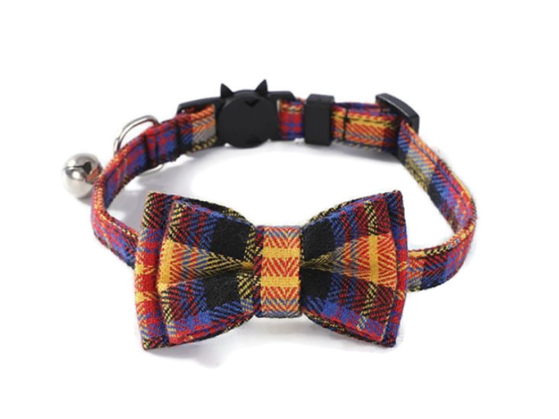 Luxury Cat Collar – Red and Yellow Mult...