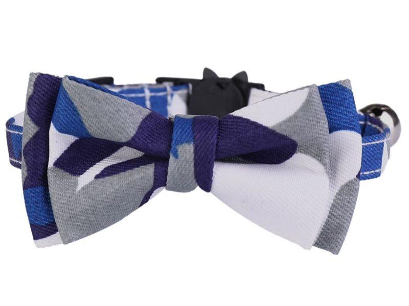 Luxury Cat Collar – Grey, Blue White