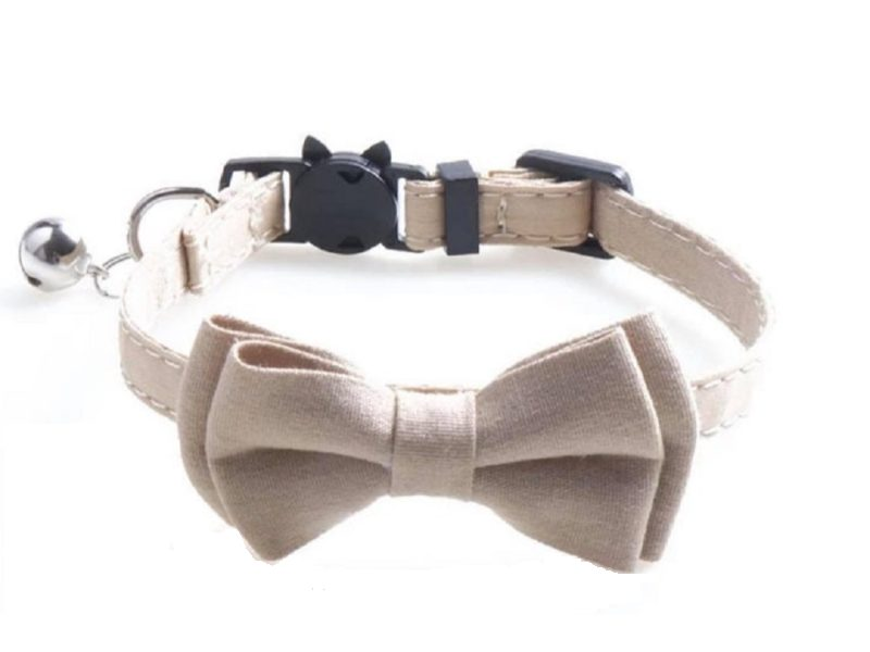 Luxury Beige Cat Collar with Bow
